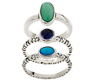 Carolyn Pollack Morning Dew Sterling Set of 3 Rings - J266622