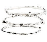 Or Paz Sterling Set of 3 Cultured Pearl Round Textured Bangles - J273622