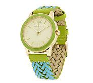 Isaac Mizrahi Live! Colorful Braided Leather Watch - J289122