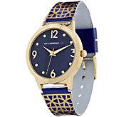 Isaac Mizrahi Live! Trellis Print Goldtone Watch - J290022