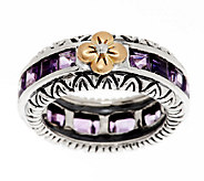 Barbara Bixby Sterling & 18K Pave Amethyst Stack Ring - J292722