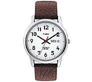 Timex Mens Easy Reader Brown Leather Strap Watch - J308822