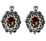 Artisan Crafted Sterling Gemstone Scroll and Beaded Earrings - J309522