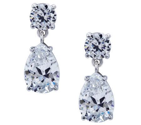 diamonique sterling dangle earrings qvc