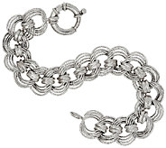 Vicenza Silver Sterling 6-3/4 Diamond Cut Status Curb Link Bracelet - J317722