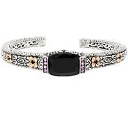 Barbara Bixby Sterling & 18K Onyx & 0.15 ct Pink Sapphire Hinged Cuff - J318622