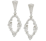 Judith Ripka Sterling & Diamonique Open Work Dangle Earrings - J319022