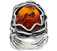 Sterling Silver Amber Textured Elongated Ring by Or Paz - J320322