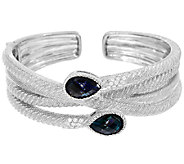 Judith Ripka Sterling 6.60 cttw London Blue Topaz Cuff - J321122
