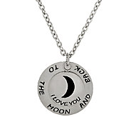 Stainless Steel I Love You to the Moon and Back Pendant w/Chain - J323822