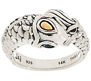 JAI Sterling & 14K Andaman Sea Koi Ring w/ Blue Topaz Eyes - J324122