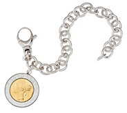 As Is Bronze 500 Lire Coin Oval Rolo Link Bracelet by Bronzo Italia - J327322