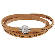 As Is Stainless Steel Large Triple Wrap Leather Prayer Bracelet - J329722