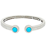 Sleeping Beauty Turquoise Sterling Silver Hinged Cuff - J330922