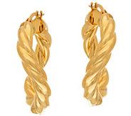 As Is Vicenza Gold 1 Twisted Round Tube Hoop Earrings, 14K - J333522