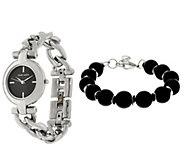 Anne Klein Silvertone Watch and Black Bead Bracelet Set - J333722