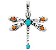 American West Sterling Silver Gemstone Dragonfly Pin/Pendant - J334022