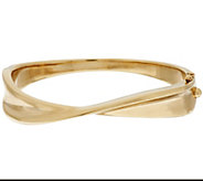 As Is 14K Gold Small Polished Twisted Hinged Bangle - J334422