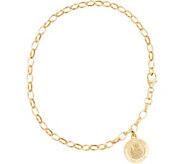 Italian Gold 8 Rolo Link Saint Charm Bracelet, 14K Gold, 3.1g - J334722