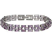 Baguette Gemstone Panther Link Sterling 7-1/4 Bracelet - J346222
