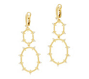 Judith Ripka Sterling/14K Clad_Diamonique Oval Drop Earrings - J346722
