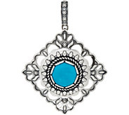 Turquoise and Concha Sterling Diamond Shape Enhancer by American West - J350322