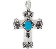American West Mother of Pearl & Turquoise Sterling Silver Cross Enhancer - J352222