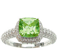 Judith Ripka Sterling and Peridot with Diamonique Ring - J376822