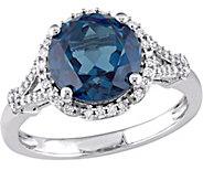 14K Gold 3.50 ct Blue Topaz & 1/5 cttw DiamondFloral Ring - J377122