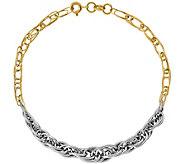 14K Figaro & Double Overlapping 8 Bracelet, 4.3g - J377322