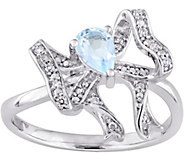 Laura Ashley Sterling 0.45 ct Blue Topaz & Diamond Accent Rin - J379522