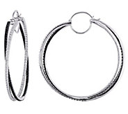 Affinity 14K 1.50 cttw Black & White Diamond Hoop Earrings - J383722