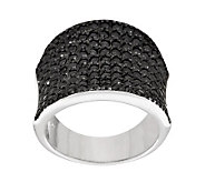 Diamonique Sterling Black Pave Saddle Ring - J280723