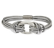 Sterling Polished Station Leather Bracelet - J282623