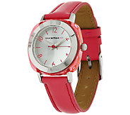Isaac Mizrahi Live! Frosted Acrylic Case Strap Watch - J285823