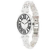 UltraFine Silver Oval Roman Numeral Byzantine Bracelet Watch - J287223