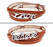 Stainless Steel Triple Wrap Love or Believe LeatherBracelet - J294023