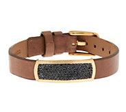 As Is VicenzaGold Black Spinel Leather Bracelet, 14K - J294223