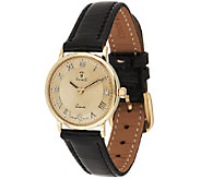 Vicence Diamond Accent Round Dial Leather Strap Watch, 14K - J295723