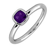 Simply Stacks Sterling Cushion Cut AmethystRing - J299423