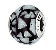 Prerogatives White & Black Glitter Italian Murano Glass Bead - J300423