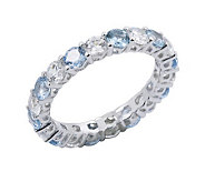 Diamonique & Vivid Blue Eternity Band Ring, Platinum Clad - J302423