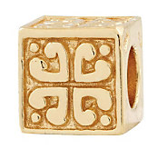 Prerogatives 14K Yellow Gold-Plated Sterling Heart Cube Bead - J302723
