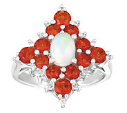 Sterling Ethiopian Opal, Diamond Accent & FireOpal Ring - J303423