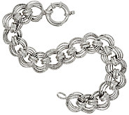 Vicenza Silver Sterling 7-1/4 Diamond Cut Status Curb Link Bracelet - J317723
