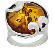 Hagit Sterling Silver Amber Swirl Ring - J320123