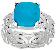 Sleeping Beauty Turquoise Byzantine Sterling Silver Ring - J320423