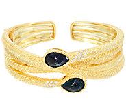 Judith Ripka Sterling & 14K Clad London Blue Topaz Cuff Bracelet - J321123