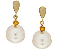 As Is HonoraGold Cultured Pearl Opal Accent Earrings, 14K - J322223