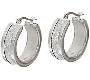 Stainless Steel 1 Glitter Hoop Earrings - J323823